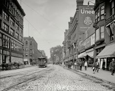 "Lowell, Massachusetts, circa 1908. ""Merrimack Street looking west.""  I love these old photos of turn-of-the-century U.S. Main Streets."