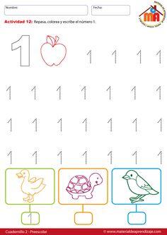 El número 1 - 12 preescolar