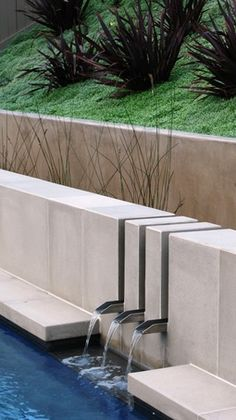 I like the water feature detail idea...the stainless steal scuppers are neat.
