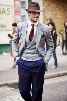 David Gandy street style mixed suit gray blue hat