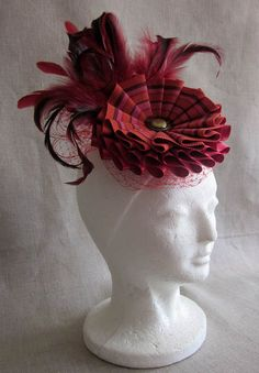 Red Ribbon Cocktail Hat