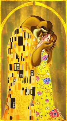 Belle e la bestia con il Bacio di Klimt