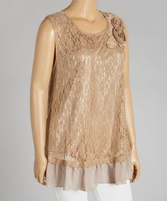 Another great find on #zulily! Mocha Lace Floral-Accent Tank - Plus by Lady Noiz #zulilyfinds