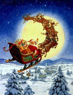Santa flying in sleight with reindeer http://www.goldenwoodstudio.com/uploads/images/Santa/CS405_Merry%20Christmas%20to%20All.jpg