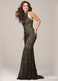 Jovani 25100 Black/Nude Sultry Body Hugging Stretch Lace Prom Dress