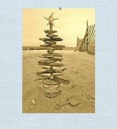 Seaside Inspired | Beach Christmas | driftwood tree christmas card from SeasideInspired.com.