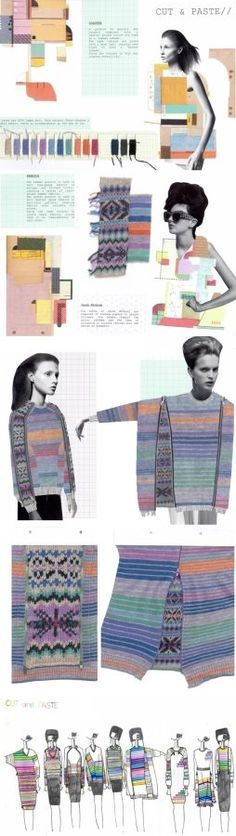 "Fashion Knitwear Sketchbook - drawing, design, moodboard, development - ""CUT PASTE"" collection, rory longdon:"