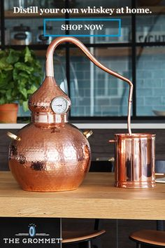 Home distilling is easy—and attractive—with this striking copper and brass still. Handcrafted with care by artisans in India for fair wages, the design is fashioned after the ancient alembic still. While not in use making batches of brandy, whiskey, and o Home Distilling, Alcoholic Drinks, Cocktails, Beverages, Copper Still, Best Charcoal Grill, Distillery, Brewery, Wine Making