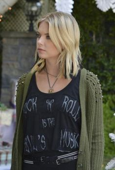 Hanna's 'Rock n Roll is the Devil's Music' Tee and green studded shoulder cardigan on Pretty Little Liars. Outfit Details: http://wornontv.net/36592/ #PLL
