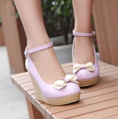Spring wedges platform button bow women's size customize