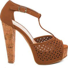 Clarice08 Peep Toe Laser Cut Out T-strap Platform Corkscrew Chunky