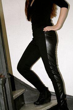 Black Cigarette pants Tuxedo Pants Wetlook  PVC by HarmonyWalker, $54.00 Black Cigarette Pants, Black Cigarettes, Tuxedo Pants, Leather Pants, Trending Outfits, My Style, Clothes, Etsy, Fashion
