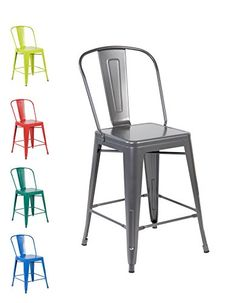 Vintage meets industrial style with the Tabouret Bistro steel side chairs, update your unique style with this set of two dining chairs. Conveniently stackable w...