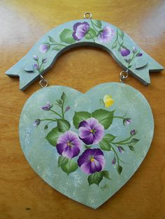 Pansy Heart Shaped WALL PLAQUE - Hnad painted - Purple Pansy - Floral Wall Decor. $13.99, via Etsy.