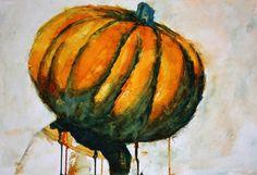 Pumpkin Head by Hannah Sanford Watercolor ~ 12 x 16