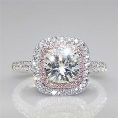 The Tina Ring -3CT Center Cushion Cut NSCD Simulated Diamond w/ Created Pink Sapphire Halo Engagement Ring & Curved Band
