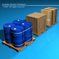 3D Model Pallets Barrels Wood Crate - 3D Model
