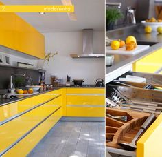 High Gloss, Bright Coloured Cabinets are my favourite kitchen look. I wish more people were not afraid of colour, especially in the kitchen.