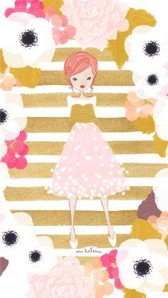 Gold Flower Fashionista iPhone Wallpaper Lock Screen @PanPins
