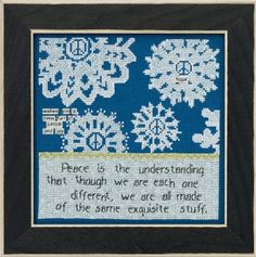 """CG301615 - Peace (2016) - Mill Hill - Curly Girl - Everyday Series Kit Includes: Beads, fabric , floss, needles, chart and instructions.   8"""" x 8"""" Mill Hill frame GBFRM21 sold separately   Size: 7"""" x 7"""""""