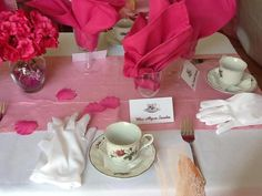 Tea Party Individual personalized place setting. The tea cups are real chins sized for children.
