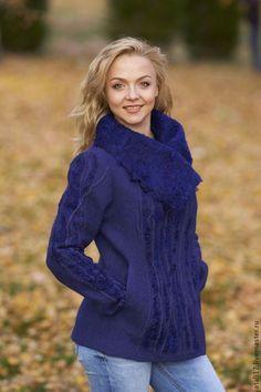 Купить Жакет Королевский синий-войлок - жакет из войлока, жакет валяный, валяная одежда