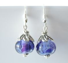 blueberry coloured glass lampwork bead earrings...blue/purple swirls with silver plated leaf bead cap and 925 silver earring hooks by BdazzledJewellery on Etsy