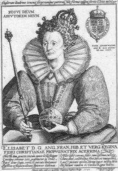 Engraving of Queen Elizabeth I. By Crispin van de Passe, circa 1592.