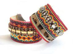 Hippie cuff bracelet - boho chic friendship bracelet cuff with hair on hide leopard leather, vintage rhinestones and Swarovski - gypsy style. €110.00, via Etsy.