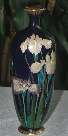 Japanese Cloisonne Enamel Silverwire Vase - Iris