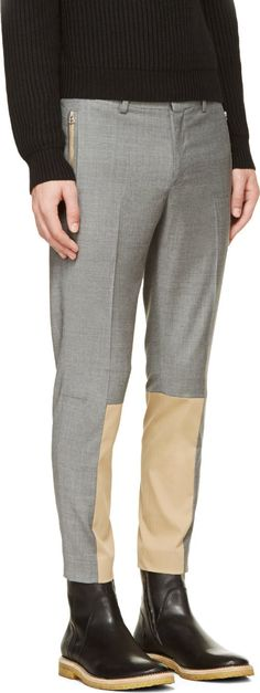 John Undercover Gray Wool Combination Trousers