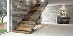 Queremos la escalera igual a esta.De porcelanato simil madera y ya con ese piso subimos a la planta alta.Todo en simil madera.