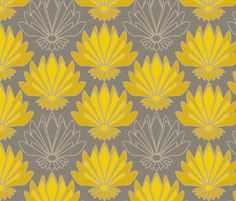 Art deco Lotus fabric by mariao on Spoonflower - custom fabric-someone teach me how to sew!!!