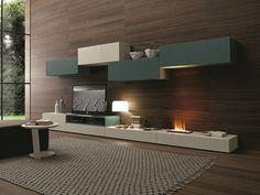 Parete attrezzata componibile fissata a muro con porta tv I-modulArt - 276 by Presotto