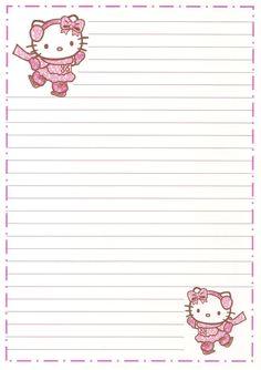 Free Printable Stationery, Printable Scrapbook Paper, Cute Stationery, Stationery Paper, Stationary, Printable Labels, Printables, Hello Kitty My Melody, Sanrio Hello Kitty