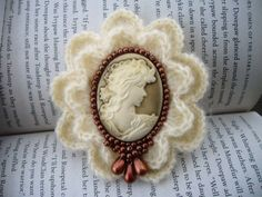 Victorian Young Lady Cameo Brooch Pin Hand by CraftsbySigita on Etsy