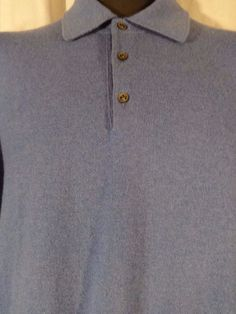 NEIMAN MARCUS Mens Blue Sweater L 100% Cashmere Polo Sweater Cuffs Italy #NeimanMarcus #Polo