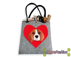 Beagle Felt Tote. Handmade Shoulder Bag. Long Handles. Dog Design. Everyday use. 4PawsFashion