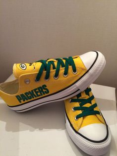 Green Bay packers tennis shoes by sportshoequeen on Etsy