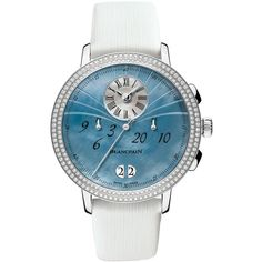 Blancpain Ladies Chronograph Flyback Grande Date 3626-4544L-64a Watch ($17,082) ❤ liked on Polyvore featuring jewelry, watches, stainless steel, crown jewelry, stainless steel jewelry, chronograph watch, chronograph watches and button jewelry