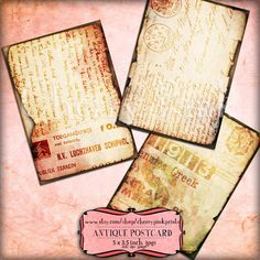 ANTIQUE POSTCARD digital collage sheet, 8 designs, scrapbook supplies collage digital download