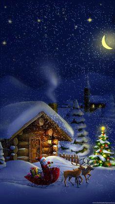 noel wallpaper christmas images f - noel Christmas Night, Christmas Scenes, Christmas Art, Vintage Christmas, Christmas Holidays, Merry Christmas Pictures, Merry Christmas Images, Christmas Wallpaper Iphone 6, Holiday Wallpaper