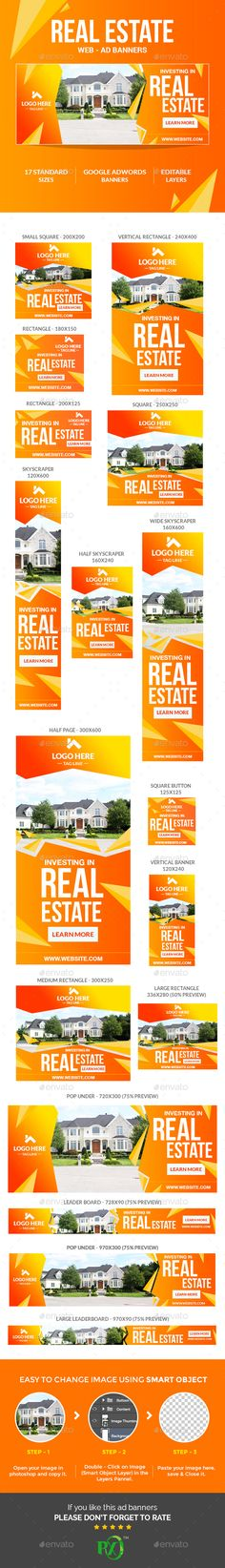 Real Estate Ad Web Banners Template PSD #ads #design Download: http://graphicriver.net/item/real-estate-ad-banners/13298095?ref=ksioks