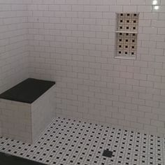 white subway tile with black shower bench - Google Search