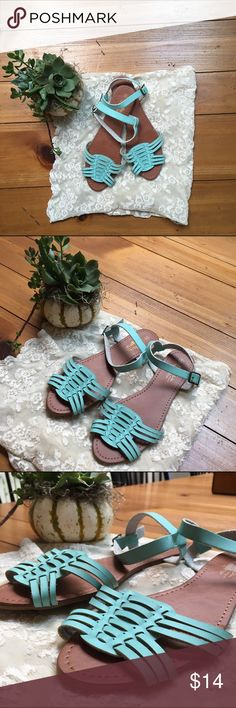 Mint Green Sandals These are super adorable mint green sandals! Worn once but never wore them again because they were too big:( They tie around the ankles! NOT STEVE MADDEN. Steve Madden Shoes Sandals