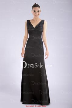 Concise V-neckline Black Floor-length Bridesmaid Dress with Pleats