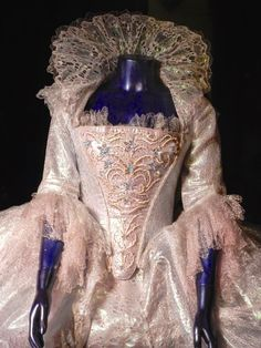 Detailed shot of the gown worn by the Fairy Godmother in Cinderella (2015).