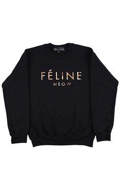 Ironic Luxury Label Graphic Tees - Black Feline Sweatshirt with Gold Ink