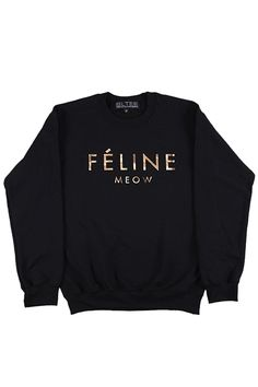 Black Feline Sweatshirt with Gold Ink