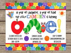Very Hungry Caterpillar Invite First Birthday Invitation Birthday Party PRINTABLE / PRINTED Caterpillar Party Eric Carle First Birthday #kids #birthday #quotes
